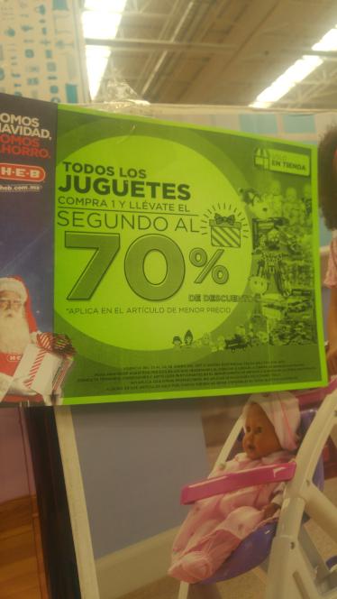 HEB: 70% descuento al segundo juguete solo en tienda