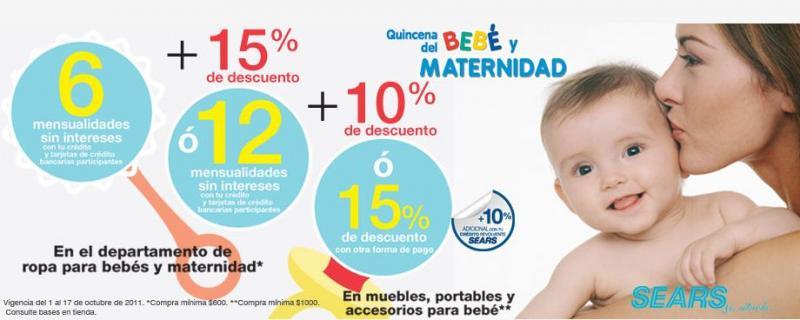 Quincena del bebé y maternidad Sears: ofertas en ropa, muebles y accesorios para bebé