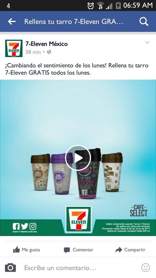 7 Eleven: Relleno gratis de tus Tarros de café todos los Lunes. Hasta Junio 19 :(