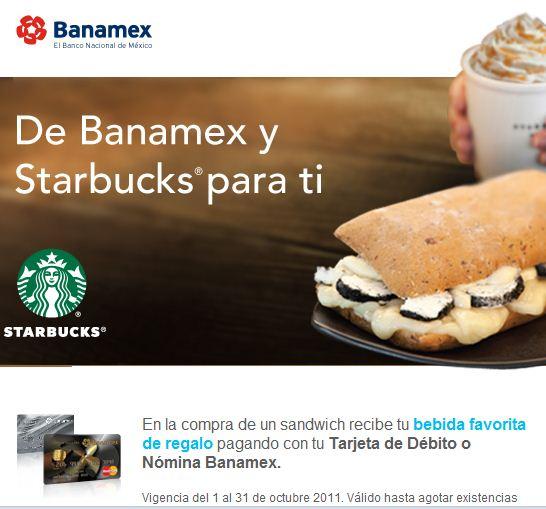 Starbucks: bebida gratis al pagar un sandwich con Banamex