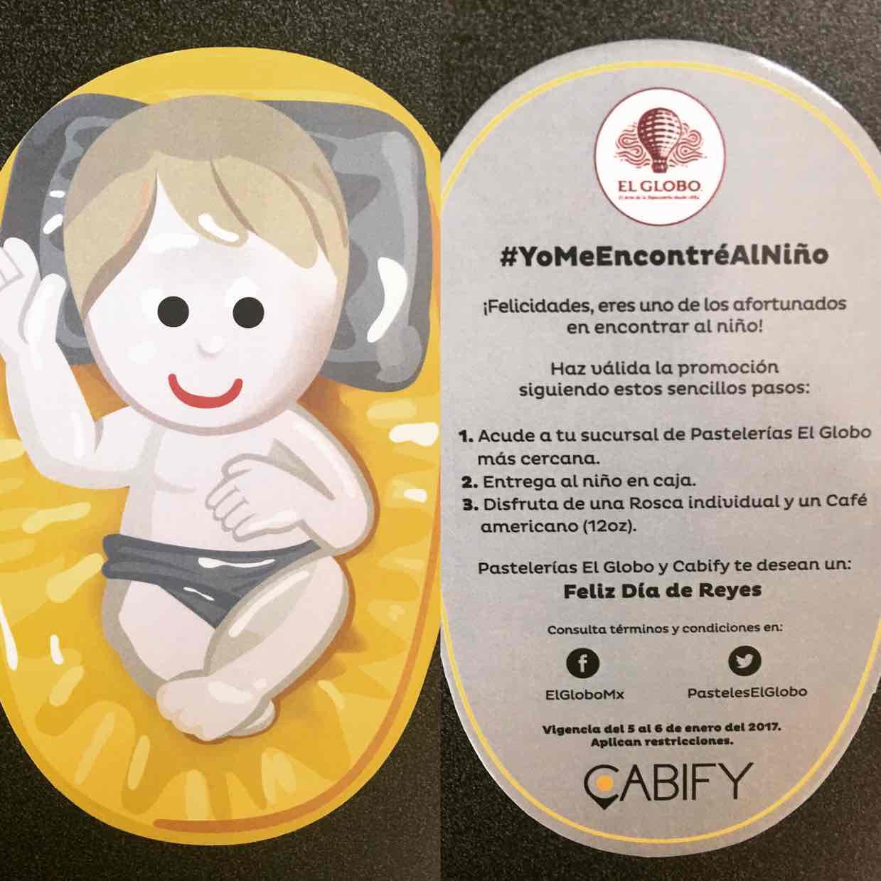 Cabify: Rosca de Reyes y café individuales de El Globo Gratis al hacer un viaje (probablemente es al azar)