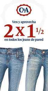 "C&A: 2 por 1 y medio en jeans ""de pared"""