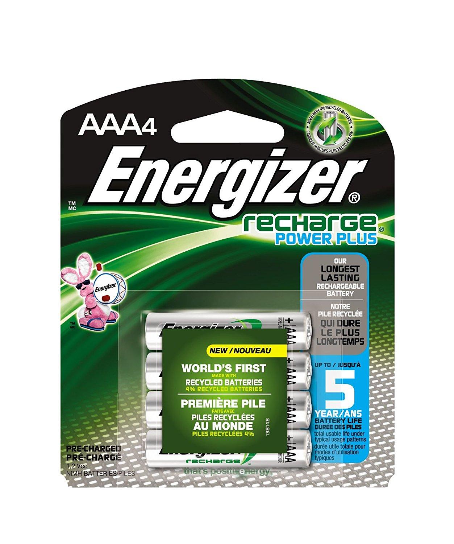 Amazon: 4 baterias AAA recargables Energizer NH12BP4 por $160