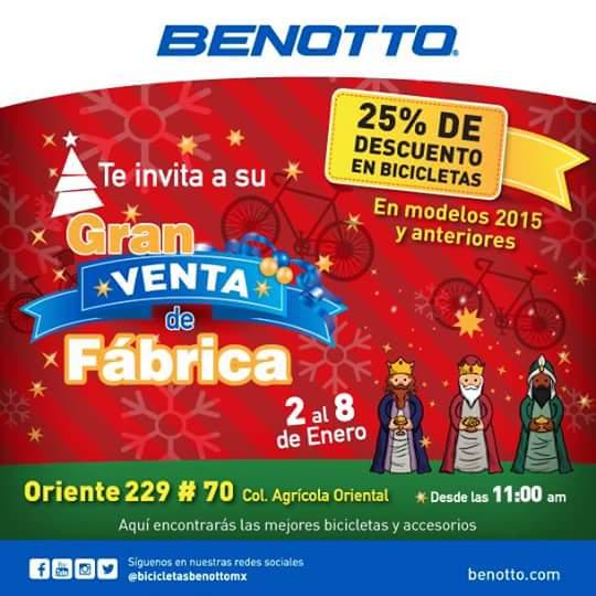 Benotto: venta de Fábrica, 25% de descuento en bicicletas.