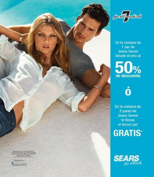 Sears: 3x2 ó 50% de descuento en el segundo par de jeans Seven