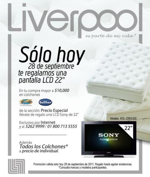 Liverpool: pantalla LCD gratis al comprar $10,000 en colchones