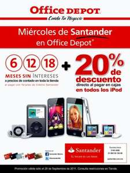 Office Depot: 20% de descuento en iPods y 18 MSI en toda la tienda con Santander