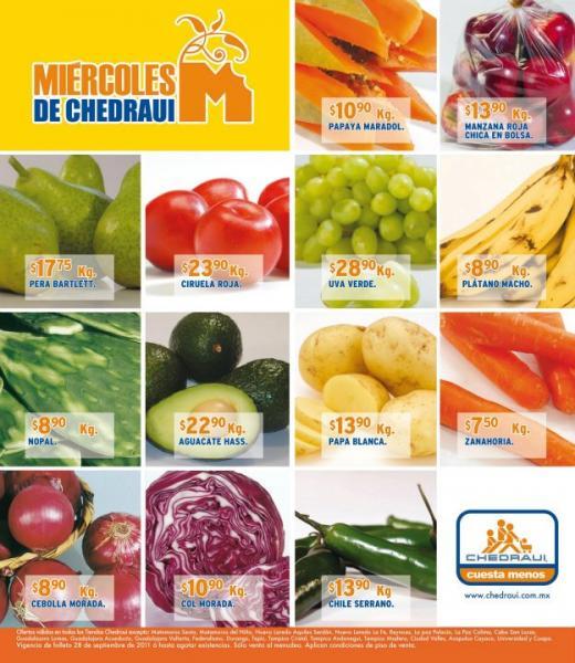 Miércoles de frutas y verduras Chedraui sept 28: naranja $1.65, ejote $4.90 y más