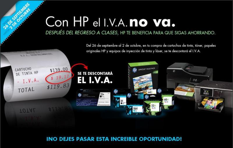 Bonificación del IVA en impresoras y accesorios HP en Home Depot, OfficeMax y otras tiendas