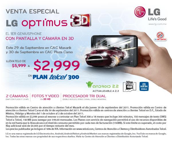 Celular Android LG Optimus 3D a mitad de precio en plan Telcel 300
