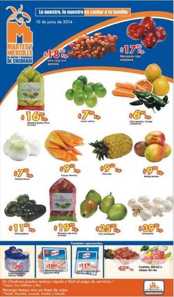 Ofertas de frutas y verduras en Chedraui junio 10 y 11: uva $18.50 el kilo y más