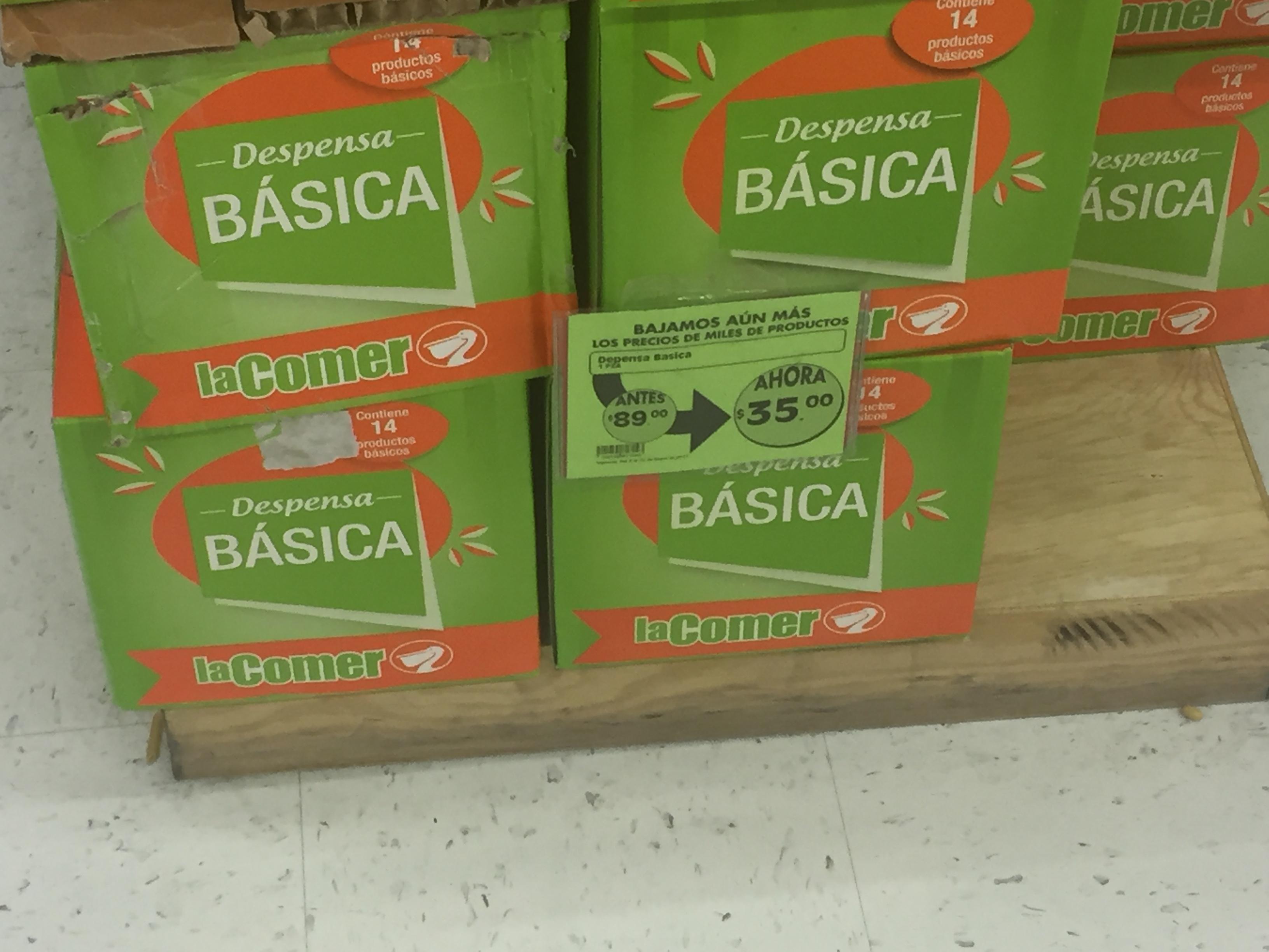 La Comer: Despensa básica con 14 productos a $35