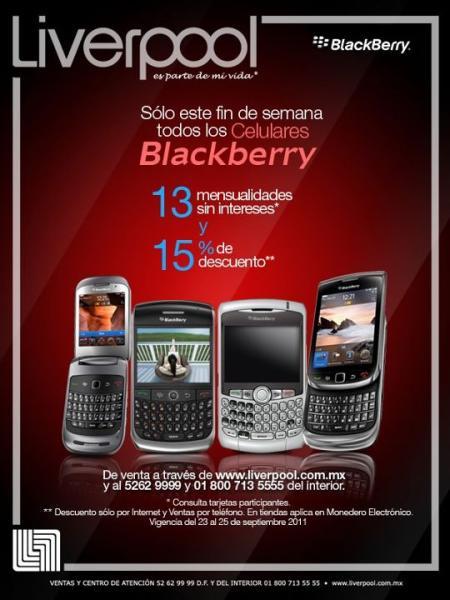 Liverpool: 15% de descuento y 13 meses sin intereses en equipos BlackBerry