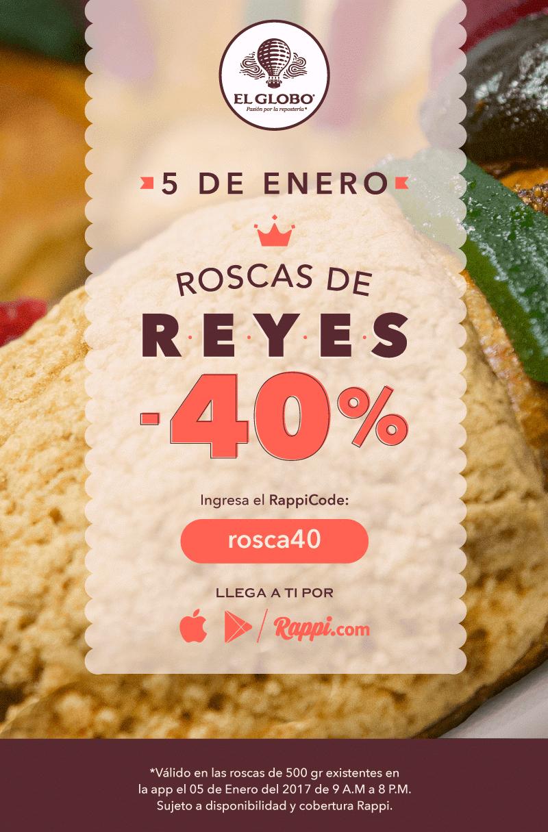 Rappi: 40% de descuento en Roscas de Reyes de El Globo