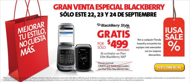 Iusacell: venta nocturna IusaSale Blackberry. BB Style gratis en plan 300