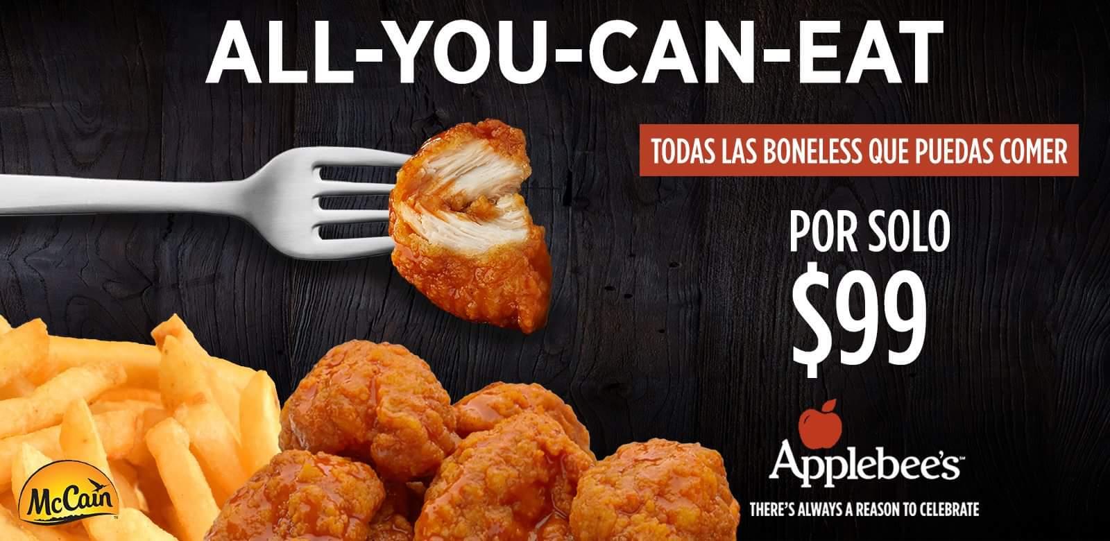 Applebee's: BONELESS (TODOS LOS QUE PUEDAS COMER POR $99)