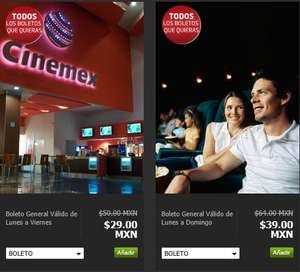 Boletos para Cinemex desde $29 con Privalia