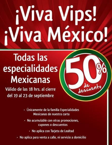 Vips: 50% de descuento en especialidades mexicanas después de las 6
