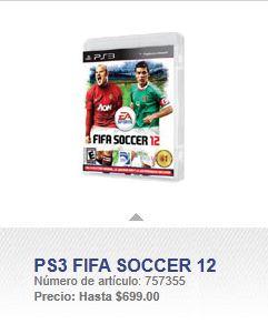 Sam's Club: FIFA 12 para PlayStation 3 a $699