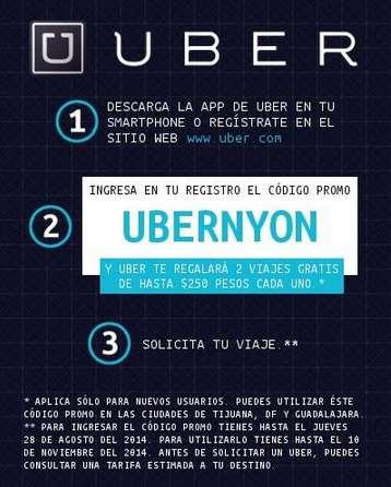 Uber: dos viajes de hasta $250 gratis para clientes nuevos