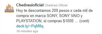 Chedraui: $200 de descuento por cada $1000 en Sony, Sony VAIO y Playstation