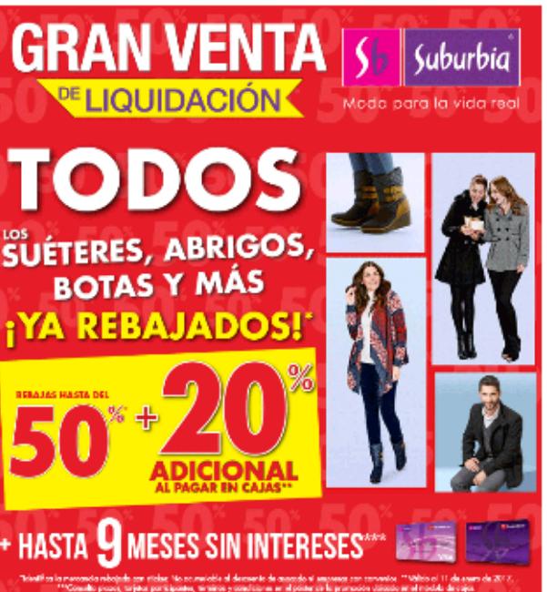 Suburbia: liquidación, hasta 50% mas 20% en sus suéteres, abrigos y botas