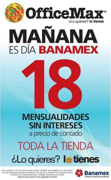 Office Max: 18 MSI a precio de contado con Banamex (mañana)