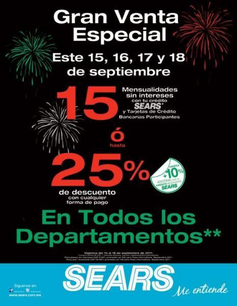Sears: 15 MSI o hasta 25% de descuento en todos los departamentos
