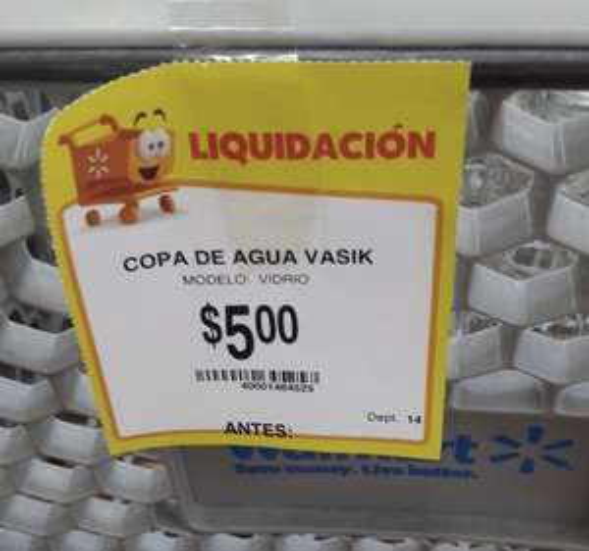 Walmart Playa del Carmen copas capri para agua marca Vasik $5