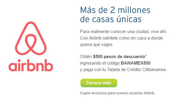 Airbnb: Descuento para usuarios nuevos de $500 (solo clientes Banamex)