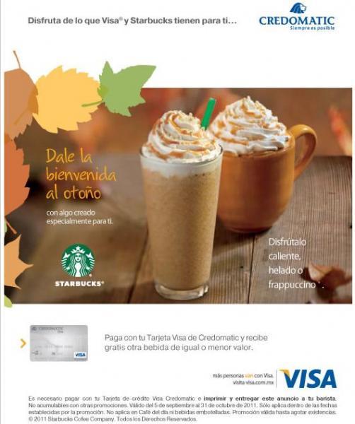 Starbucks: 2x1 pagando con Visa