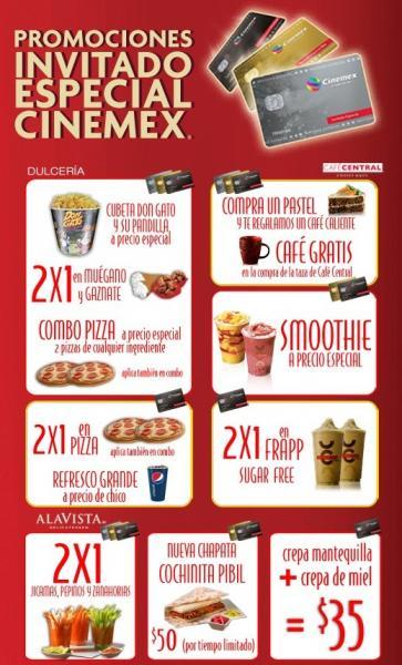Cinemex: 2x1 en pizzas, frapp y más con tarjeta de invitado especial