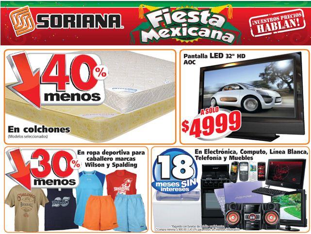"""Soriana: pantalla LED 32"""" $4,999, 40% de descuento en colchones, Huggies a $120 y más"""