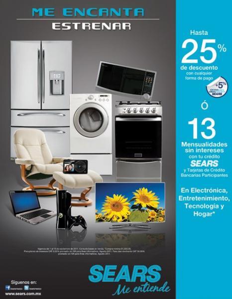 Sears: 25% de descuento o 13 MSI en electrónica, entretenimiento, tecnología y hogar