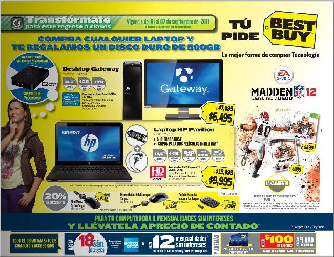 Circular Best Buy: laptop con Blu-ray y 6 GB de Ram $9,995, disco duro gratis con laptop, 3 juegos gratis con Xbox 360 y más