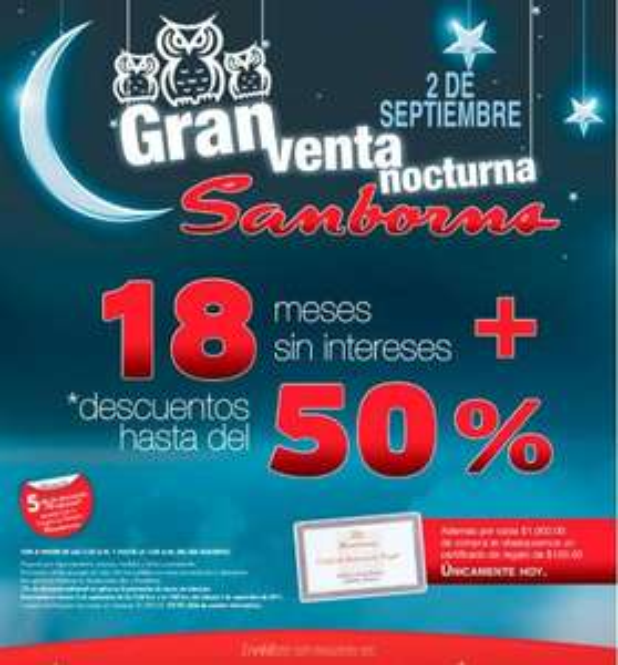Venta Nocturna Sanborns: 18 MSI, $100 por cada $1,000 y hasta 50% de descuento viernes 2 de septiembre