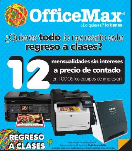 OfficeMax: 12 MSI a precio de contado en todos los equipos de impresión