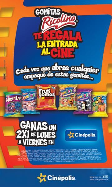 Cinépolis: 2x1 con gomitas Ricolino (¡promoción extendida!)