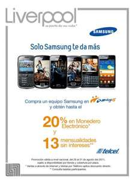 Liverpool: 20% de descuento y 13 MSI en celulares Samsung Amigo Kit
