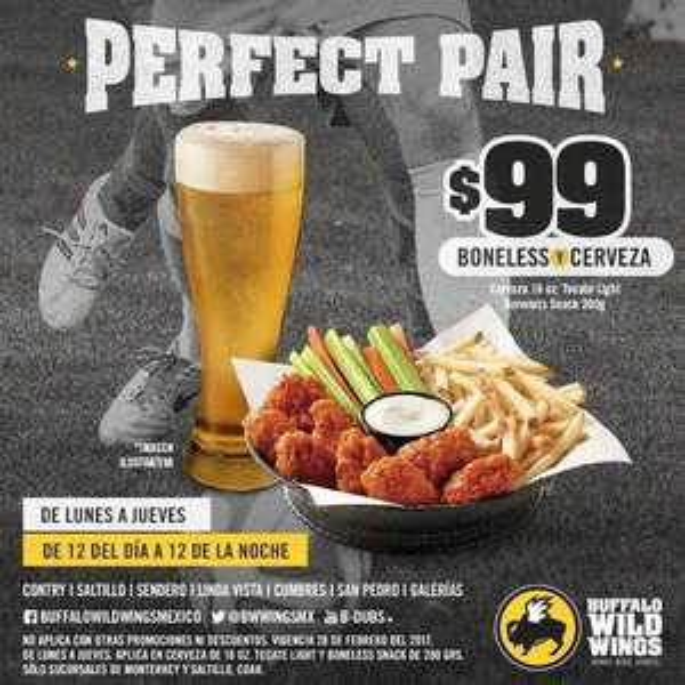 Buffalo Wild Wings: Boneless (con papas) y Cerveza por $99 de lunes a jueves