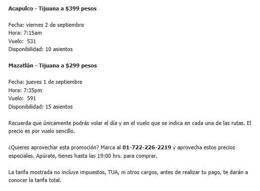 Volaris: Acapulco-Tijuana y Mazatlán-Tijuana a  $399 y $299 (sólo hoy)
