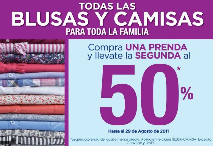Suburbia: compra una y la segunda al 50% en blusas y camisas