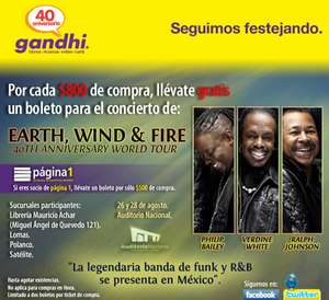 Gandhi: boleto gratis para ver Earth, Wind and Fire por cada $500 o $800 de compra