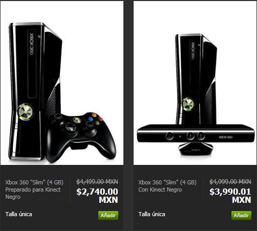 Privalia: Xbox 360 4GB $2,740, de 250GB a $3,890 y 4GB con Kinect $3,990