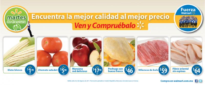 Walmart Martes de Frescura agosto 23: jitomate saladet $5.90, manzana red delicious $17.90 y más