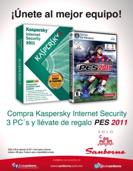 Sanborns: gratis PES 2011 al comprar Kaspersky Internet Security