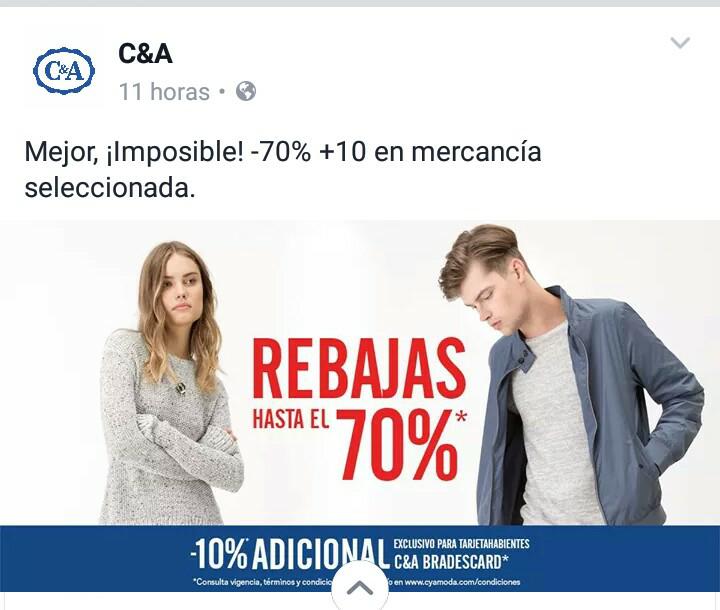 C&A : Rebajas de hasta el 70% , Ejemplo: Zapatos desde 69 !!