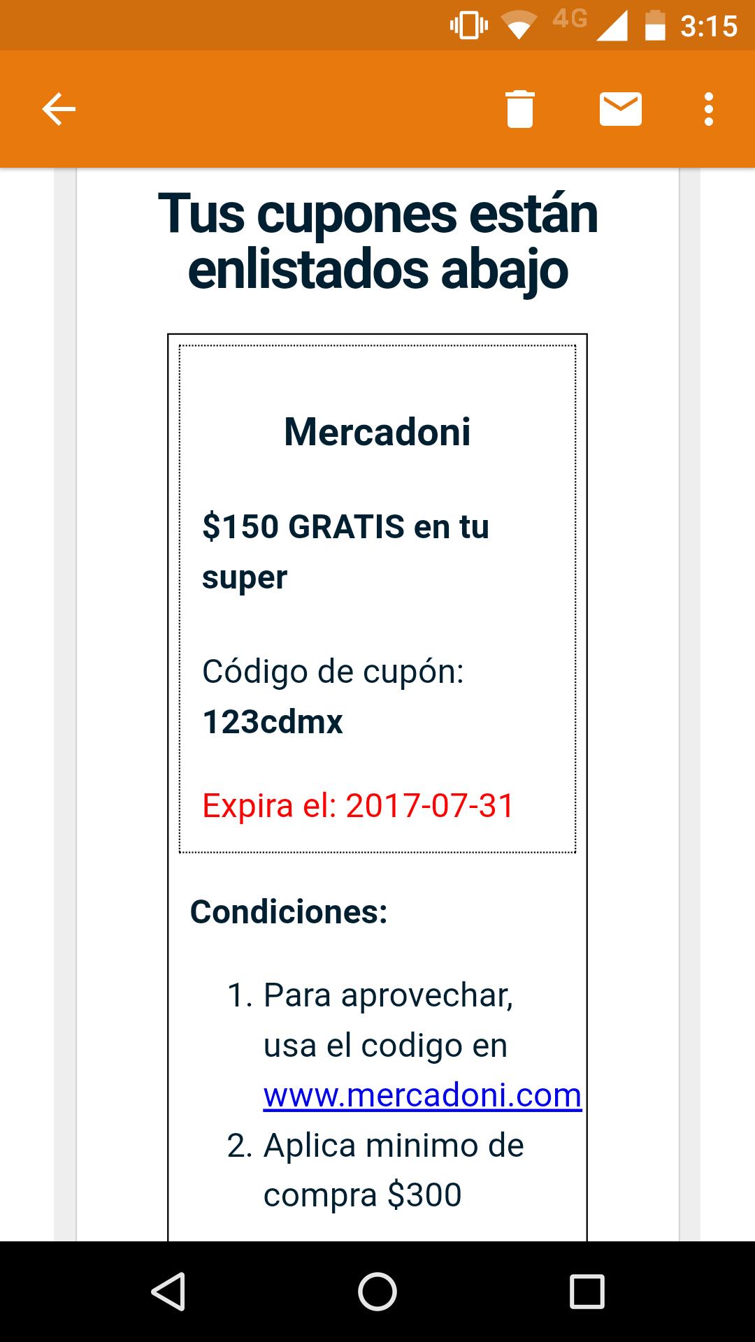 Mercadoni: Cupón de $150 gratis en compra mínima de $300