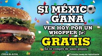 Burger King: Whopper Jr. Gratis al comprar papas si México gana a Brasil