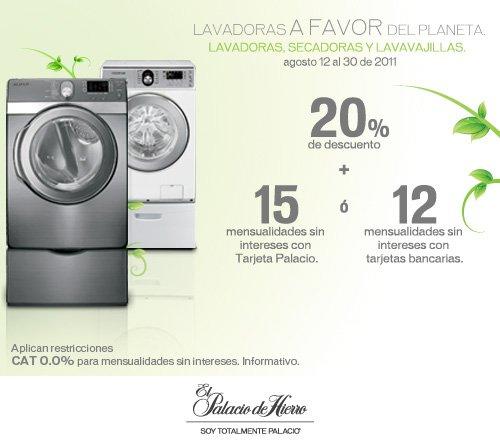 Palacio de Hierro: 20% más 15 MSI o 12 MSI en lavadoras, secadoras y lavavajillas.